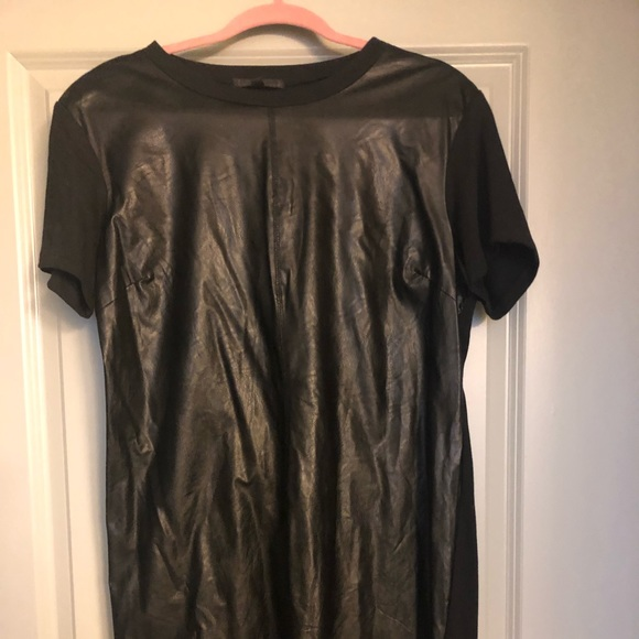 Lucca Couture Dresses & Skirts - Faux Black Leather T-Shirt Dress